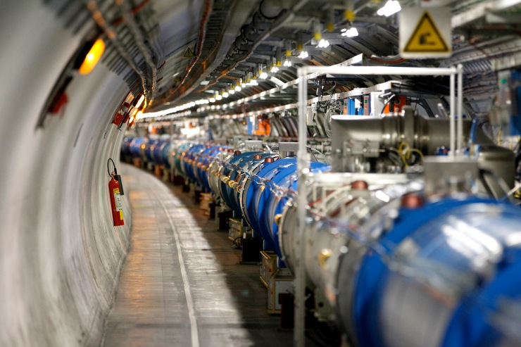 A general view of the Large Hadron Collider (LHC) experiment is seen during a media visit at the Organization for Nuclear Research (CERN) in the French village of Saint-Genis-Pouilly near Geneva in Switzerland